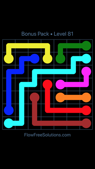 Solution and Answer to the Puzzle for Flow Free Bonus Pack Level 21