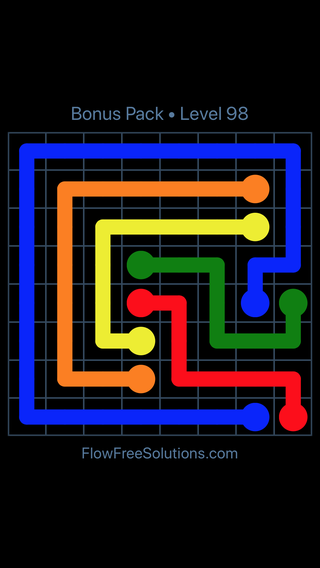 Solution and Answer to the Puzzle for Flow Free Bonus Pack Level 8