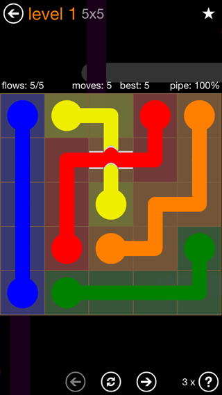 Solution and Answer to the Puzzle for Flow Bridges Pack Set 5x5 Level 1