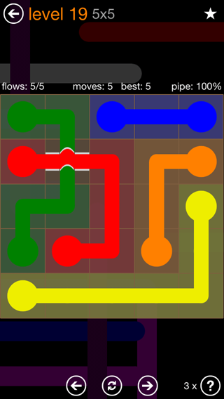 Solution and Answer to the Puzzle for Flow Bridges Pack Set 5x5 Level 19