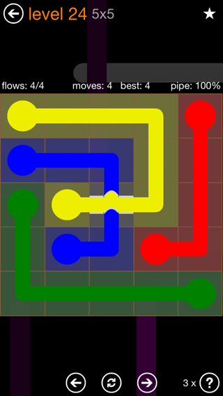 Solution and Answer to the Puzzle for Flow Bridges Pack Set 5x5 Level 24