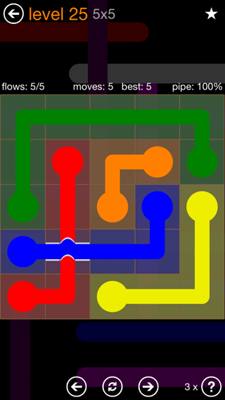 Solution and Answer to the Puzzle for Flow Bridges Pack Set 5x5 Level 25