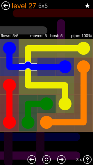 Solution and Answer to the Puzzle for Flow Bridges Pack Set 5x5 Level 27