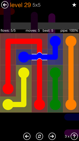 Solution and Answer to the Puzzle for Flow Bridges Pack Set 5x5 Level 29