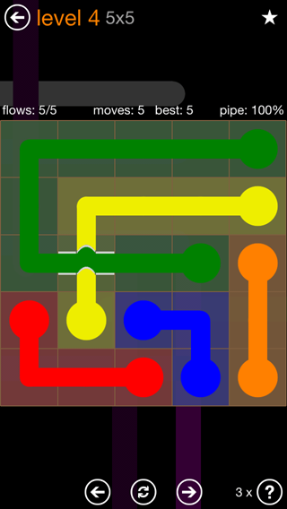 Solution and Answer to the Puzzle for Flow Bridges Pack Set 5x5 Level 4
