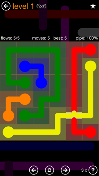 Solution and Answer to the Puzzle for Flow Bridges Pack Set 6x6 Level 1