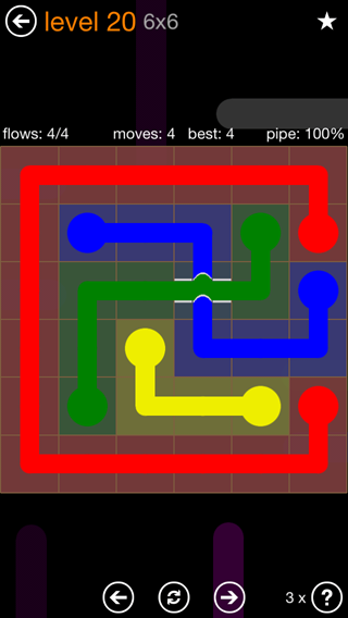 Solution and Answer to the Puzzle for Flow Bridges Pack Set 6x6 Level 20