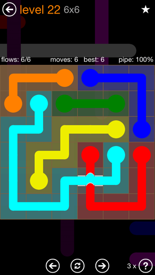 Solution and Answer to the Puzzle for Flow Bridges Pack Set 6x6 Level 22