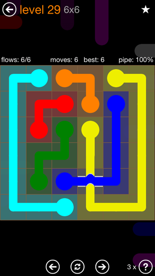 Solution and Answer to the Puzzle for Flow Bridges Pack Set 6x6 Level 29