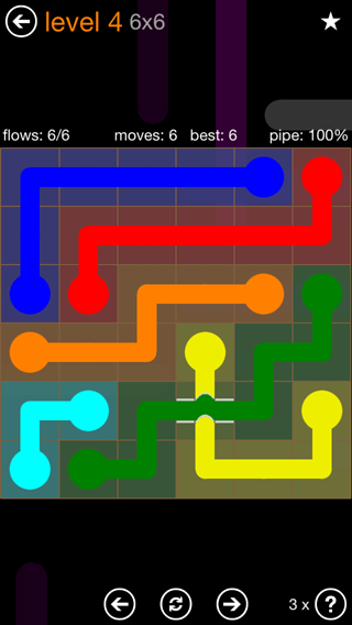Solution and Answer to the Puzzle for Flow Bridges Pack Set 6x6 Level 4