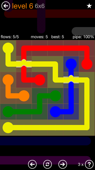 Solution and Answer to the Puzzle for Flow Bridges Pack Set 6x6 Level 6