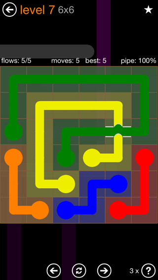 Solution and Answer to the Puzzle for Flow Bridges Pack Set 6x6 Level 7
