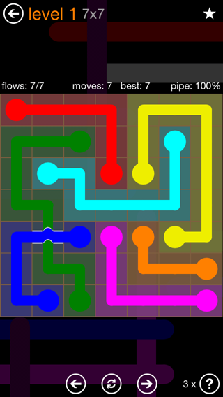 Solution and Answer to the Puzzle for Flow Bridges Pack Set 7x7 Level 1