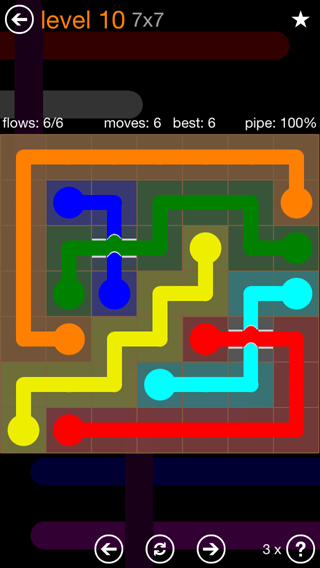 Solution and Answer to the Puzzle for Flow Bridges Pack Set 7x7 Level 10