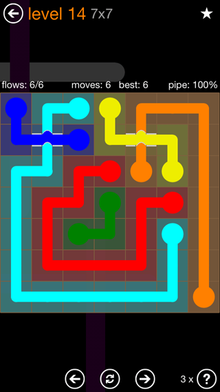 Solution and Answer to the Puzzle for Flow Bridges Pack Set 7x7 Level 14