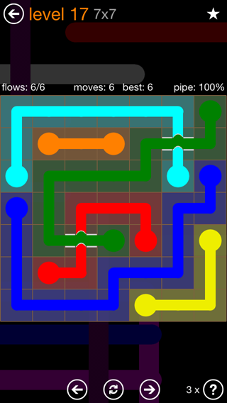 Solution and Answer to the Puzzle for Flow Bridges Pack Set 7x7 Level 17