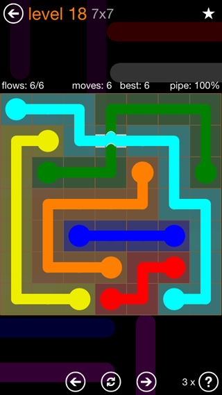 Solution and Answer to the Puzzle for Flow Bridges Pack Set 7x7 Level 18