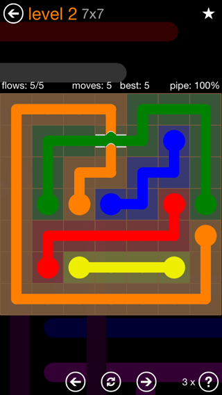 Solution and Answer to the Puzzle for Flow Bridges Pack Set 7x7 Level 2