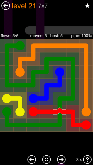 Solution and Answer to the Puzzle for Flow Bridges Pack Set 7x7 Level 21