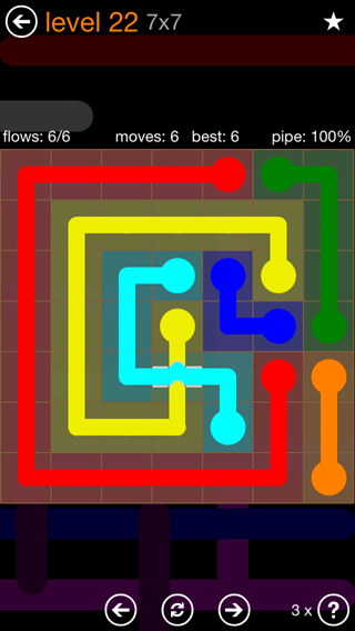 Solution and Answer to the Puzzle for Flow Bridges Pack Set 7x7 Level 22