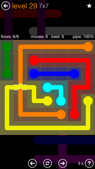Solution and Answer to the Puzzle for Flow Bridges Pack Set 7x7 Level 29