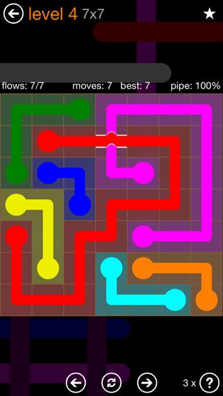 Solution and Answer to the Puzzle for Flow Bridges Pack Set 7x7 Level 4