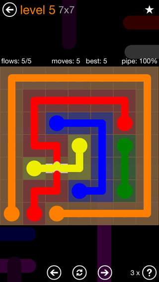 Solution and Answer to the Puzzle for Flow Bridges Pack Set 7x7 Level 5