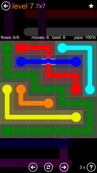 Solution and Answer to the Puzzle for Flow Bridges Pack Set 7x7 Level 7