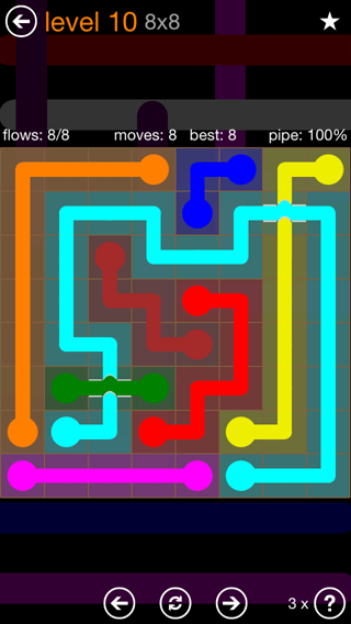 Solution and Answer to the Puzzle for Flow Bridges Pack Set 8x8 Level 10