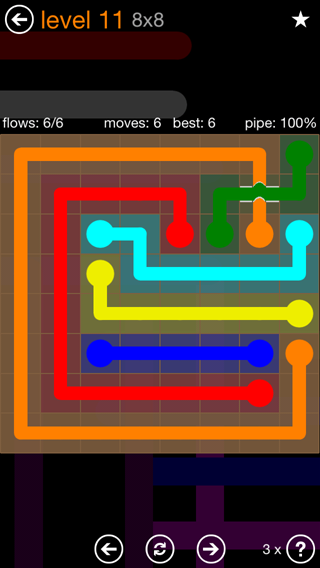 Solution and Answer to the Puzzle for Flow Bridges Pack Set 8x8 Level 11