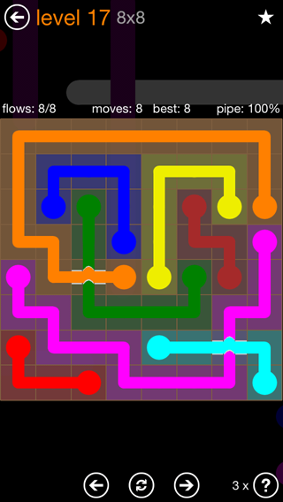 Solution and Answer to the Puzzle for Flow Bridges Pack Set 8x8 Level 17