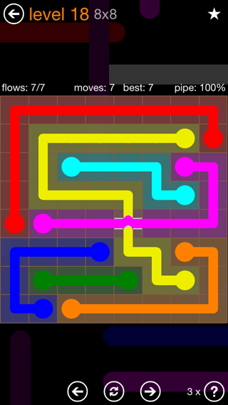 Solution and Answer to the Puzzle for Flow Bridges Pack Set 8x8 Level 18