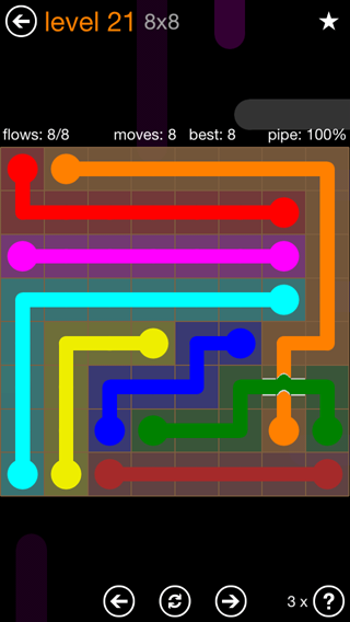 Solution and Answer to the Puzzle for Flow Bridges Pack Set 8x8 Level 21