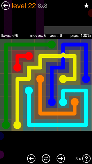 Solution and Answer to the Puzzle for Flow Bridges Pack Set 8x8 Level 22