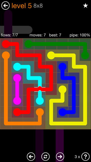 Solution and Answer to the Puzzle for Flow Bridges Pack Set 8x8 Level 5