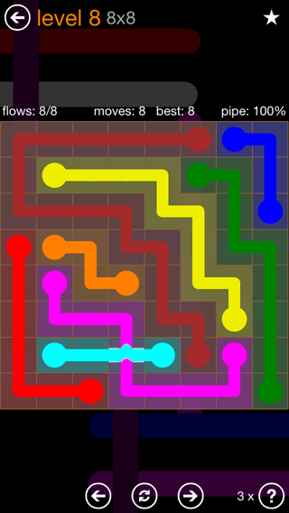 Solution and Answer to the Puzzle for Flow Bridges Pack Set 8x8 Level 8