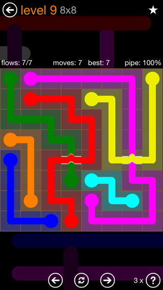 Solution and Answer to the Puzzle for Flow Bridges Pack Set 8x8 Level 9