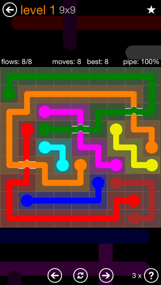 Solution and Answer to the Puzzle for Flow Bridges Pack Set 9x9 Level 1