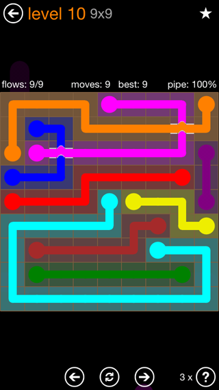 Solution and Answer to the Puzzle for Flow Bridges Pack Set 9x9 Level 10
