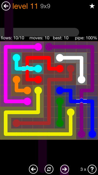 Solution and Answer to the Puzzle for Flow Bridges Pack Set 9x9 Level 11