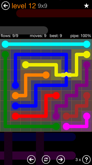 Solution and Answer to the Puzzle for Flow Bridges Pack Set 9x9 Level 12