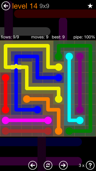 Solution and Answer to the Puzzle for Flow Bridges Pack Set 9x9 Level 14