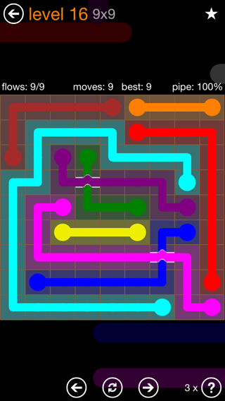Solution and Answer to the Puzzle for Flow Bridges Pack Set 9x9 Level 16