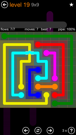 Solution and Answer to the Puzzle for Flow Bridges Pack Set 9x9 Level 19
