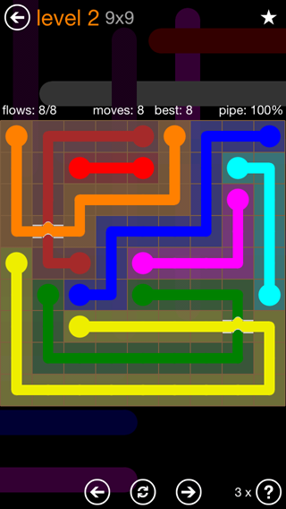 Solution and Answer to the Puzzle for Flow Bridges Pack Set 9x9 Level 2
