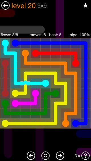 Solution and Answer to the Puzzle for Flow Bridges Pack Set 9x9 Level 20