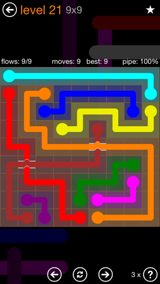 Solution and Answer to the Puzzle for Flow Bridges Pack Set 9x9 Level 21