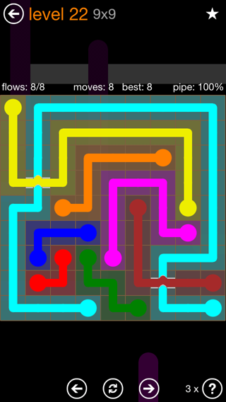 Solution and Answer to the Puzzle for Flow Bridges Pack Set 9x9 Level 22