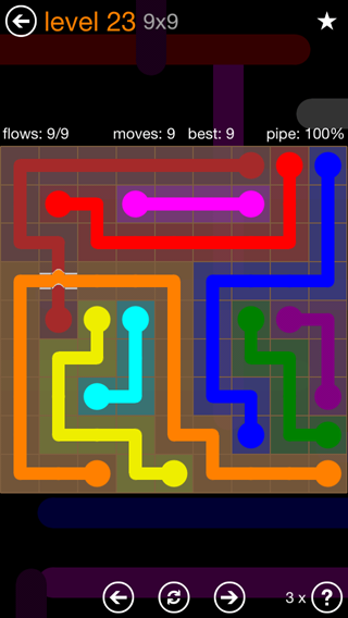 Solution and Answer to the Puzzle for Flow Bridges Pack Set 9x9 Level 23