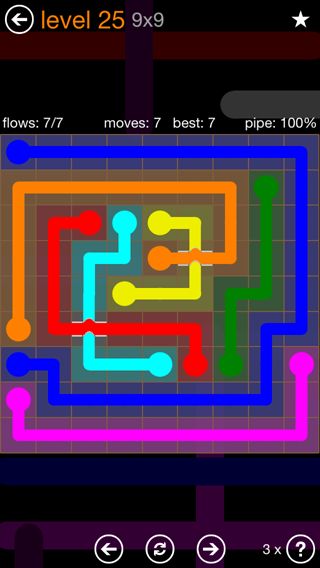 Solution and Answer to the Puzzle for Flow Bridges Pack Set 9x9 Level 25
